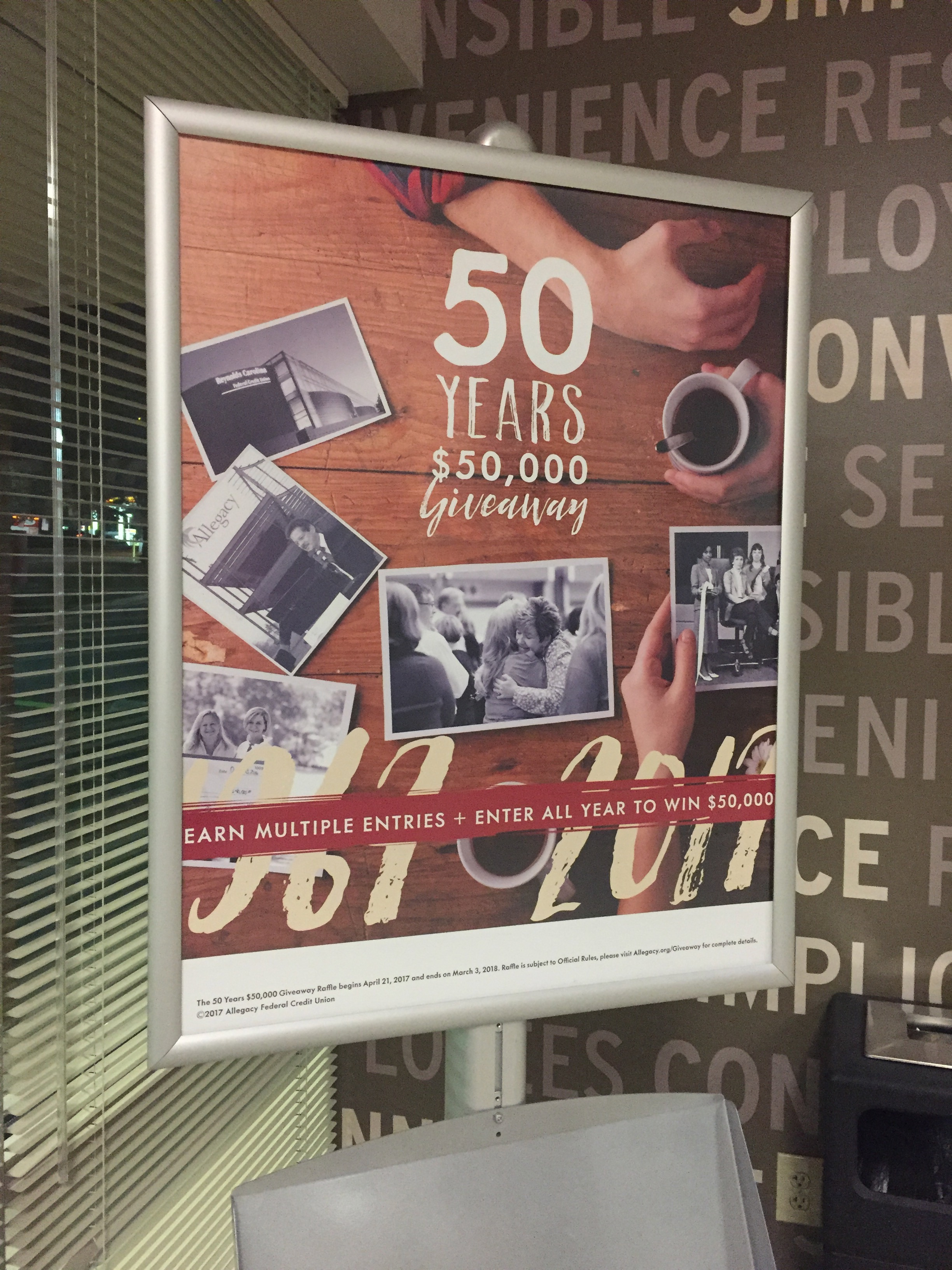 Point of Sale Poster Promoting Anniversary Giveaway Campaign