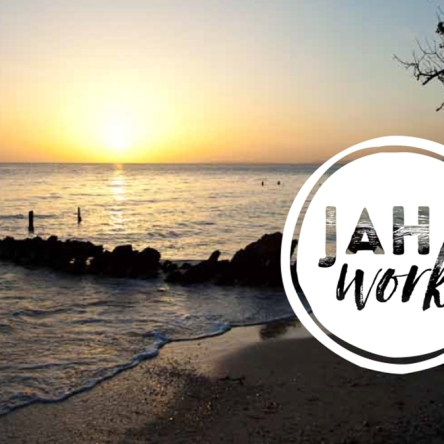 Jah Works Logo Over Jamaican Sunset